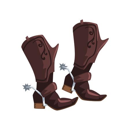 Ilustración de Pair of cowboy leather boots vector Illustration on a white background - Imagen libre de derechos