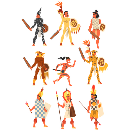 Illustration for Armed tribal male warriors set, tribe members in traditional clothing vector Illustrations on a white background - Royalty Free Image