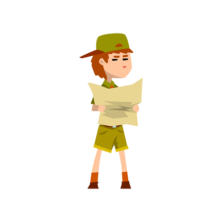 Illustration pour Boy scout character in uniform holding tourist map, outdoor adventures and survival activity in camping vector Illustration on a white background - image libre de droit