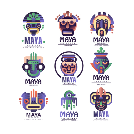 Illustration for Maya   original design set, emblems with ethnic mask, Aztec signs vector Illustrations on a white background - Royalty Free Image
