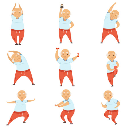 Ilustración de Senior man doing morning exercises, active and healthy lifestyle of retired people vector Illustration on a white background - Imagen libre de derechos