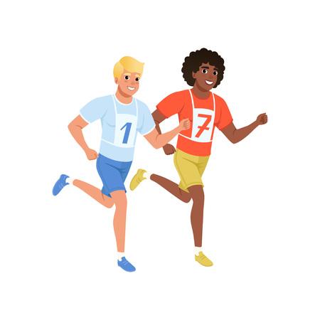 Ilustración de Two guys running marathon. Young men in sportswear with number on chest. Active and healthy lifestyle. Flat vector design - Imagen libre de derechos
