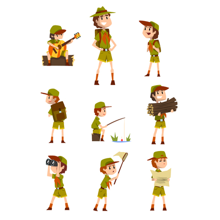 Illustration pour Scouting boys set, boy scouts with hiking equipment, summer camp activities vector Illustrations on a white background - image libre de droit