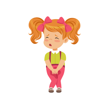 Ilustración de Cute little girl sad that she peed vector Illustration on a white background - Imagen libre de derechos
