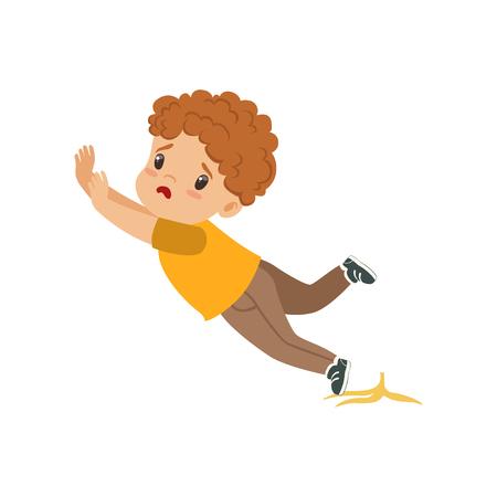 Illustration pour Boy slipping on a banana peel vector Illustration on a white background - image libre de droit