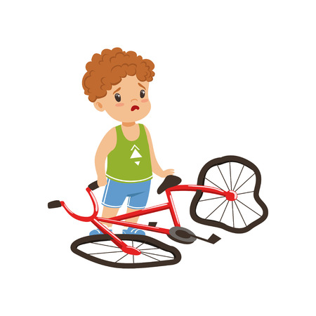 Illustration for Boy feeling unhappy with his bike broken vector Illustration on a white background - Royalty Free Image
