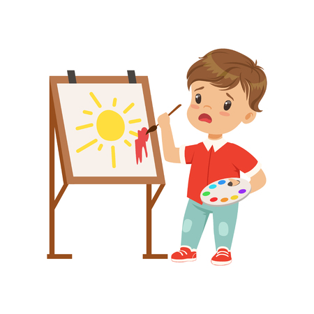 Illustration pour Frustrated boy stained the picture with blotch, boy painting sun on an easel vector Illustration on a white background - image libre de droit