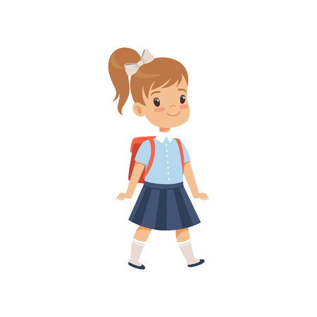 Illustrazione per Cute girl walkling with backpack, pupil in school uniform studying at school vector Illustration on a white background - Immagini Royalty Free