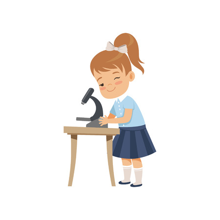 Illustration for Cute girl using microscope at lesson, pupil in school uniform studying at school vector Illustration on a white background - Royalty Free Image