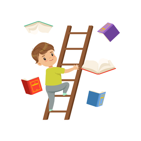 Illustration for Cute little boy character climbing up wooden ladder, books falling next to him vector Illustration on a white background - Royalty Free Image