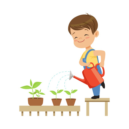 Illustration pour Cute little boy character watering plants from a watering can vector Illustration on a white background - image libre de droit