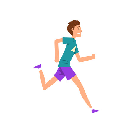 Ilustración de Young man running, active healthy lifestyle concept cartoon vector Illustration on a white background - Imagen libre de derechos