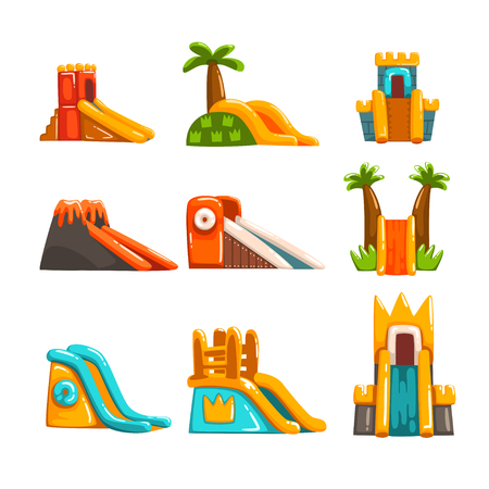 Illustration for Inflatable slides set, summer amusement park bouncy equipment vector Illustrations on a white background - Royalty Free Image