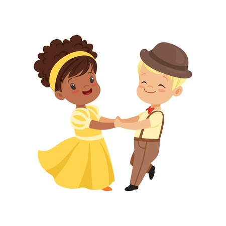 Illustration for Cute smiling little boy and girl dancing in elegant clothes vector Illustration on a white background - Royalty Free Image