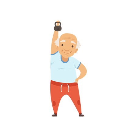 Illustration pour Senior man in sports uniform exercising with kettlebell, grandmother character doing morning exercises or therapeutic gymnastics, active and healthy lifestyle vector Illustration - image libre de droit