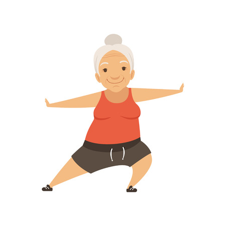 Ilustración de Grey senior woman doing sports, grandmother character doing morning exercises or therapeutic gymnastics, active and healthy lifestyle vector Illustration on a white background - Imagen libre de derechos