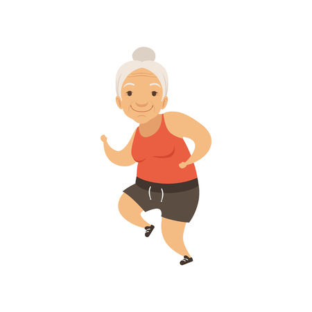 Photo for Grey senior woman running in sports uniform, grandmother character doing morning exercises or therapeutic gymnastics, active and healthy lifestyle vector Illustration - Royalty Free Image