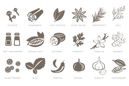 Ilustración de Fragrant spices linear icons set, spices and seasonings with names black vector Illustrations on a white background - Imagen libre de derechos
