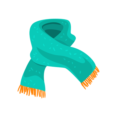 Illustration for Turquoise woolen scarf with orange fringe on the ends. Element of winter clothing. Accessory for cold weather. Flat vector design - Royalty Free Image