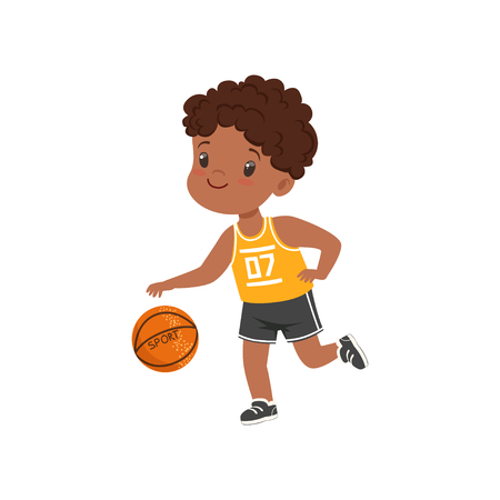 Ilustración de Cute little african american boy playing basketbal, kids physical activity concept vector Illustration on a white background - Imagen libre de derechos