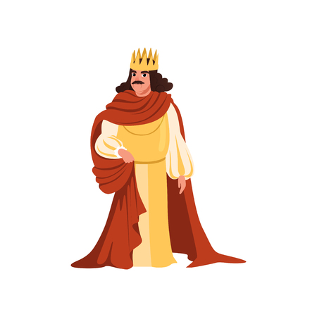 Illustration for Majestic king in golden crown and red mantle European medieval character vector Illustration on a white background - Royalty Free Image