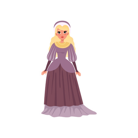 Illustration for Young woman in medieval dress vector Illustration on a white background - Royalty Free Image