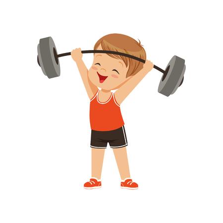 Ilustración de Cute boy lifting heavy barbell, kids physical activity concept vector Illustration on a white background - Imagen libre de derechos