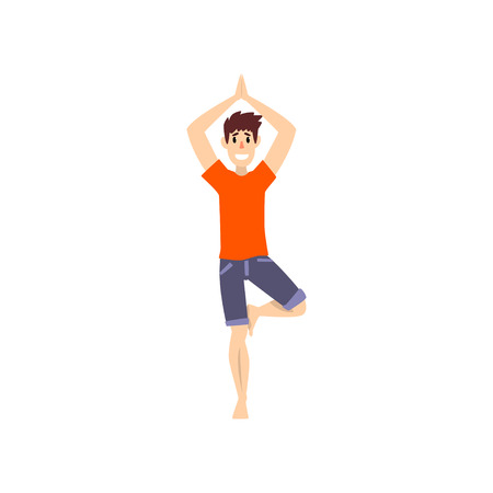 Ilustración de Man in tree pose, young man practicing yoga vector Illustration on a white background - Imagen libre de derechos