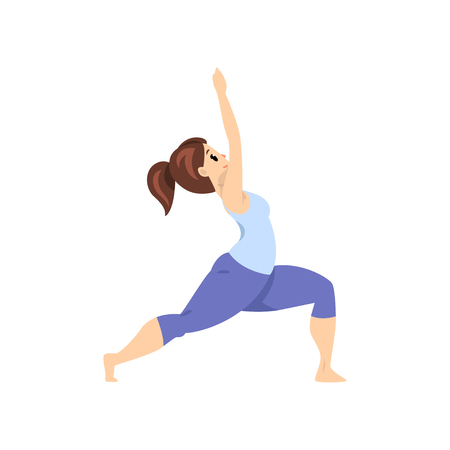 Ilustración de Beautiful woman standing in warrior pose, girl practicing yoga vector Illustration on a white background - Imagen libre de derechos