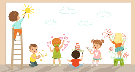 Illustrazione per Preschool kids painting with brushes and paints on white wall vector Illustration - Immagini Royalty Free
