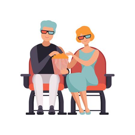 Ilustración de Couple watching movie in cinema theater in 3d glasses and eating popcorn vector Illustration on a white background - Imagen libre de derechos