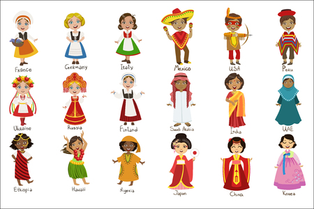 Illustration for Kids In National Costumes Set - Royalty Free Image