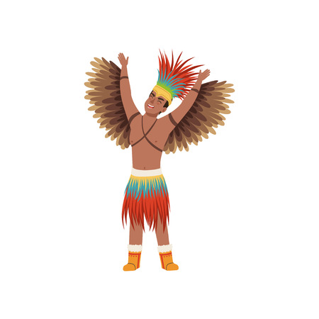 Illustration for Aztec warrior man character in traditional clothes with wings vector Illustration on a white background - Royalty Free Image