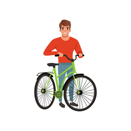Illustrazione per Man standing next to his bike, active lifestyle concept vector Illustrations isolated on a white background. - Immagini Royalty Free