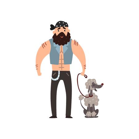 Ilustración de Brutal man walking his poodle pet dog vector Illustration isolated on a white background. - Imagen libre de derechos