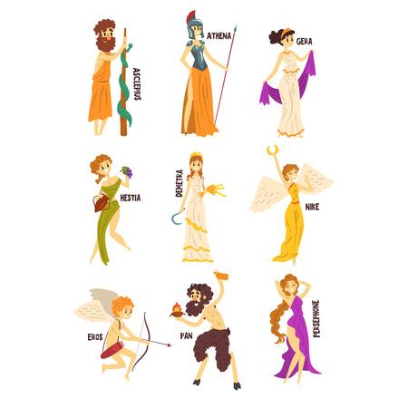 Illustration for Olympian Greek Gods set, Persephone, Nike, Demetra, Hestia, Gera, Athena, Asclepius ancient Greece mythology characters character vector Illustrations on a white background - Royalty Free Image