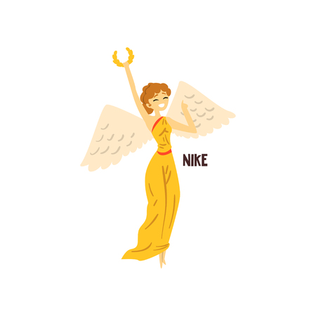 Illustration pour Nike Olympian Greek Goddess, ancient Greece mythology character vector Illustration isolated on a white background. - image libre de droit