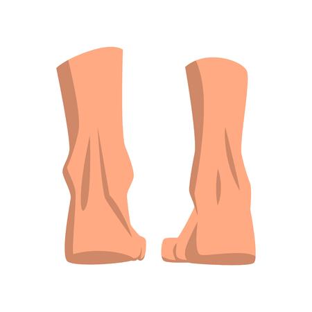 Ilustración de Human feet standing, back view vector Illustration isolated on a white background. - Imagen libre de derechos