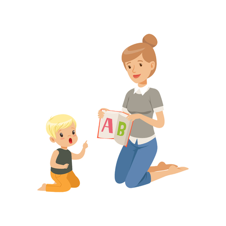 Illustration pour Elementary teacher sitting on the floor and showing letter A to little boy, woman teaching child the alphabet, language class in primary school, preschool education vector Illustration - image libre de droit