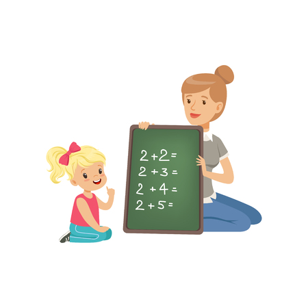 Illustration for Cute little girl sitting on the floor and writing mathematical examples, teacher holding small blackboard and helping her, math class in primary school, preschool education vector Illustration - Royalty Free Image