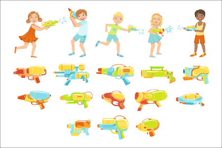 Illustration pour Kids Playing With Water Pistols And Assortment Of Guns - image libre de droit