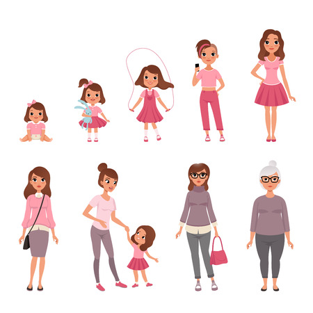 Ilustración de Life cycles of woman, stages of growing up from baby to woman vector Illustration - Imagen libre de derechos