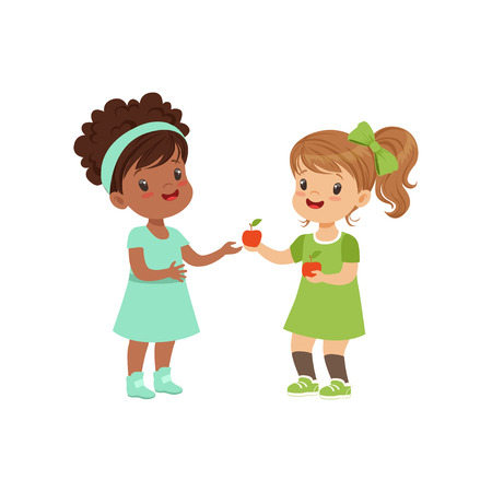Illustration pour Sweet girl giving an apple to another girl, kids sharing fruit vector Illustration on a white background - image libre de droit