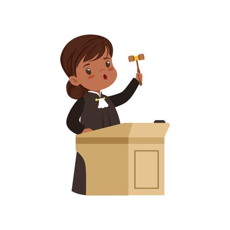 Ilustración de Cute judge girl cartoon character standing at tribunal with gavel vector Illustration on a white background - Imagen libre de derechos