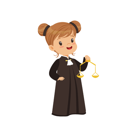 Illustration for Cute judge girl cartoon character holding golden scales of justice vector Illustration on a white background - Royalty Free Image