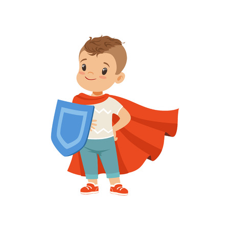 Illustration pour Cute brave little boy character in red cape standing with shield vector Illustration on a white background - image libre de droit