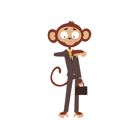 Illustration pour Monkey businessman looking at his wrist watch, funny animal cartoon character dressed in human suit vector Illustration on a white background - image libre de droit