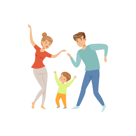 Illustration pour Mom and dad dancing with their little son, happy family and parenting concept vector Illustration on a white background - image libre de droit