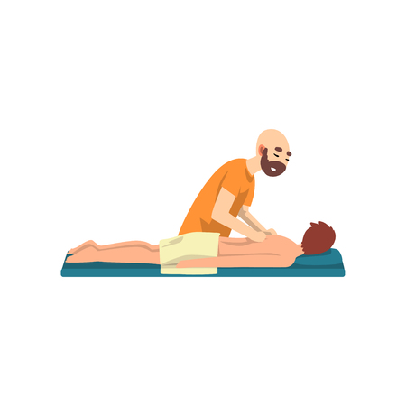 Illustration pour Male therapist doing massage to young man, rehabilitation care and physiotherapy treatments vector Illustration on a white background - image libre de droit