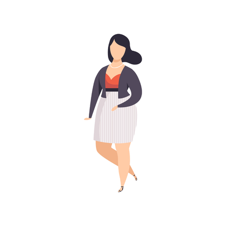 Illustrazione per Brunette curvy, overweight girl in fashionable clothes, beautiful plus size fashion woman, body positive vector Illustration on a white background - Immagini Royalty Free